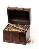 Cassa dei soldi e un pugnale Fotografie Stock Libere da Diritti