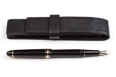 Cassa del cuoio e della penna stilografica Immagine Stock