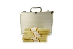 Cassa del metallo e lotti dei dollari Fotografia Stock