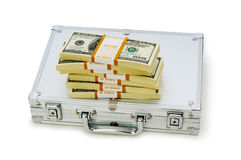 Cassa del metallo e lotti dei dollari Fotografia Stock Libera da Diritti