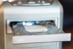 Cassa del PC con l'azionamento incorporato di DVD immagini stock