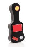 Cassa della chitarra con gli autoadesivi in bianco Fotografia Stock
