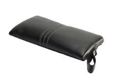 Cassa di cuoio nera per il telefono cellulare Fotografie Stock