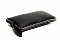 Cassa di cuoio nera per il telefono cellulare Immagine Stock