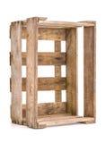 Cassa di legno d'annata del vino su bianco Fotografia Stock Libera da Diritti