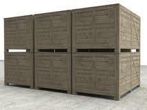 Cassa di legno isolata con il percorso di ritaglio Fotografie Stock