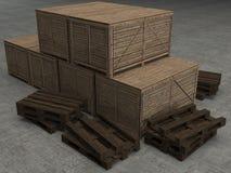 Cassa di legno isolata con il percorso di ritaglio Fotografia Stock Libera da Diritti