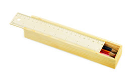 Cassa di matita con le matite di colore fotografie stock