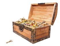 Cassa di tesoro con il tasto isolato su bianco Fotografia Stock Libera da Diritti
