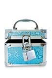 Cassa di tesoro con la serratura isolata su bianco Fotografia Stock Libera da Diritti
