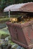 Cassa di tesoro con oro Fotografia Stock