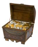 Cassa di tesoro delle monete del cioccolato fotografie stock libere da diritti