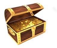 Cassa di tesoro di legno Fotografia Stock Libera da Diritti
