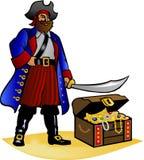 Cassa di tesoro e del pirata Fotografia Stock