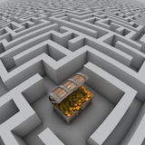 Cassa di tesoro in labirinto Immagine Stock Libera da Diritti