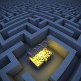 Cassa di tesoro in labirinto Immagini Stock Libere da Diritti