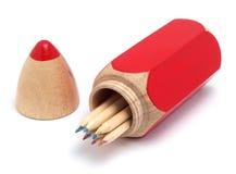 Cassa e matite di matita Fotografia Stock Libera da Diritti