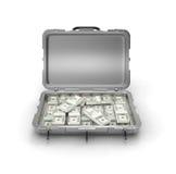 Cassa grigia con soldi Fotografia Stock Libera da Diritti