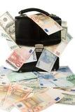 Cassa nera con gli euro ed i dollari Fotografie Stock Libere da Diritti