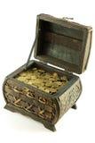 Cassa in pieno delle monete Immagini Stock