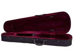 Cassa rosso scuro del velluto per il violino Immagini Stock
