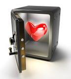 Cassaforte aperta con cuore rosso Immagini Stock Libere da Diritti