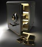 Cassaforte aperta con i lingotti dell'oro Immagini Stock