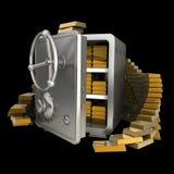 Cassaforte con oro isolato Fotografia Stock Libera da Diritti