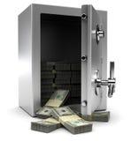 Cassaforte con soldi Fotografie Stock