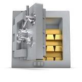 Cassaforte della Banca con le barre di oro Fotografie Stock
