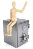 Cassaforte di legno della banca e del manichino Fotografia Stock Libera da Diritti