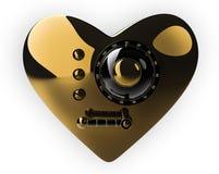 Cassaforte dorata del cuore isolata sopra con Immagine Stock