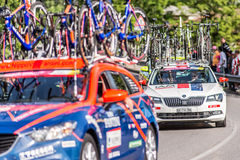 CASSANO D'ADDA, ITALY - MAY 25,2016: Giro d'Italia, stage 17°, in close proximity to the city of Cassano d'Adda. The support cars Stock Image