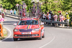 CASSANO D'ADDA, ITALY - MAY 25,2016: Giro d'Italia, stage 17°, in close proximity to the city of Cassano d'Adda. The support cars Royalty Free Stock Photography