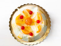 Cassata siciliana on white wooden table Royalty Free Stock Images