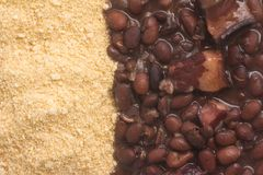 Cassava Farofa with Black Beans cooked. Cassava Farofa with Black Beans cooked on white background Royalty Free Stock Photos