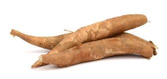 Cassava root. Fresh cassava slices on white background Stock Photo