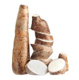 Cassava (yucca). Chopped cassava (yucca) isolated on white background royalty free stock images