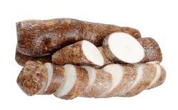 Cassava (yucca). Isolated on white background royalty free stock photos