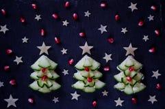 Casse-croûte créatif et sain de Noël pour des enfants Petit déjeuner de vacances photographie stock