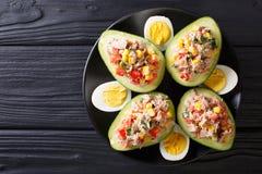 Casse-croûte délicieux d'avocat bourré du plan rapproché de salade de thon Hori photographie stock libre de droits