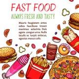 Casse-croûte de restaurant d'aliments de préparation rapide et affiche de menu de boissons Illustration Libre de Droits