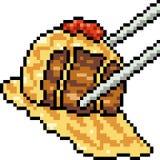 Casse-croûte de viande d'art de pixel de vecteur Photographie stock libre de droits