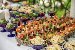 Casse-croûte légers, canap s avec le saindoux, fromage, viande, sauce, tomates-cerises Casse-croûte pour des parties Images libres de droits