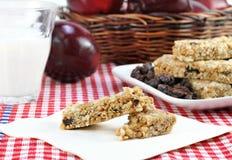 Casse-croûte sains de bar et de fruit de granola image stock
