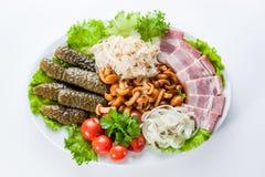 Casse-croûte assortis. conserves au vinaigre, tomates, lard et bouillie de maïs Images libres de droits