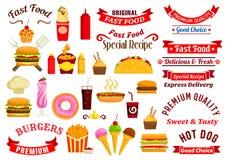 Casse-croûte d'aliments de préparation rapide, boissons, emblèmes de rubans Photographie stock