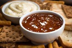 Casse-croûte et sauces de pain Photos libres de droits