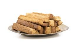 Casse-cro?te indien de pain grill? sec de bonbon ? temps de th? de nourriture de boulangerie photographie stock