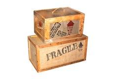 Casse da imballaggio di legno fragili Fotografie Stock Libere da Diritti